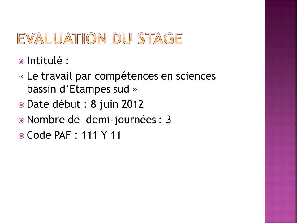 Intitulé : « Le travail par compétences en sciences bassin dEtampes sud » Date début : 8 juin 2012 Nombre de demi-journées : 3 Code PAF : 111 Y 11