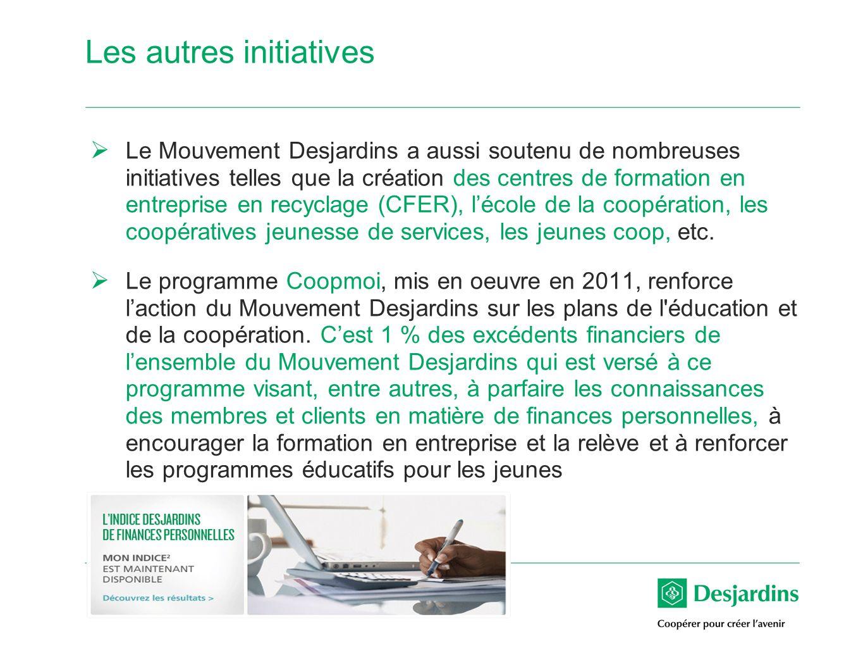 15 Les autres initiatives Le Mouvement Desjardins a aussi soutenu de nombreuses initiatives telles que la création des centres de formation en entreprise en recyclage (CFER), lécole de la coopération, les coopératives jeunesse de services, les jeunes coop, etc.