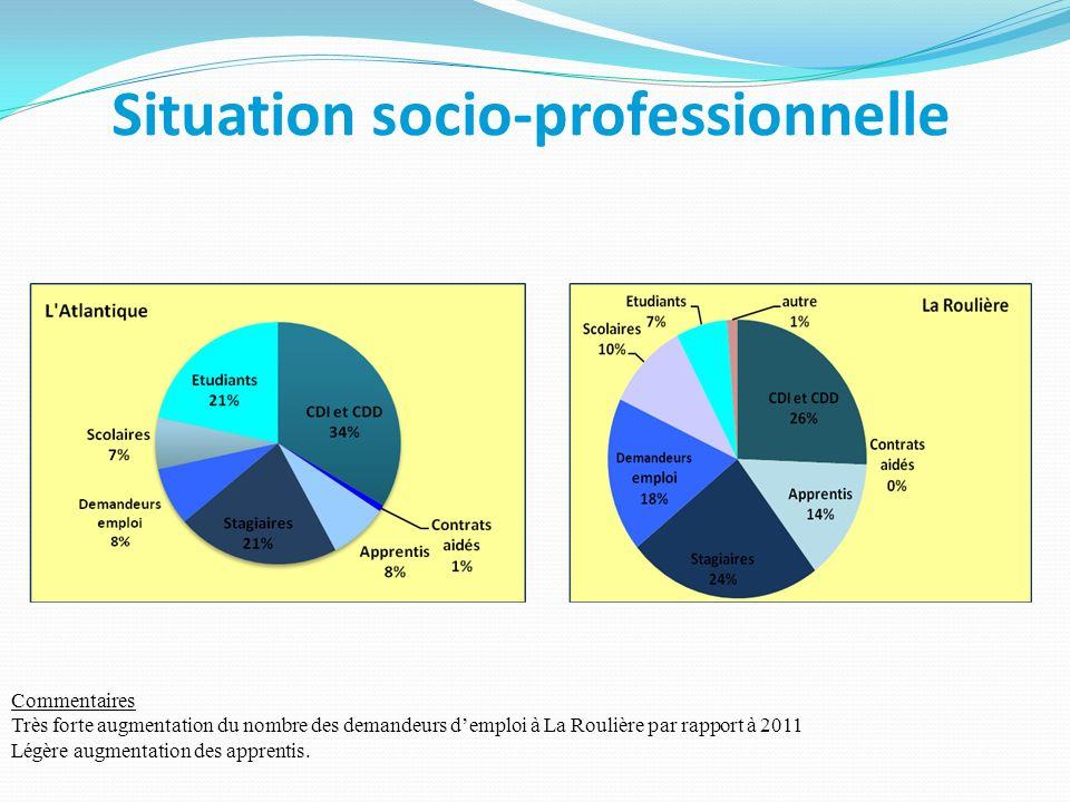 Situation socio-professionnelle Commentaires Très forte augmentation du nombre des demandeurs demploi à La Roulière par rapport à 2011 Légère augmenta