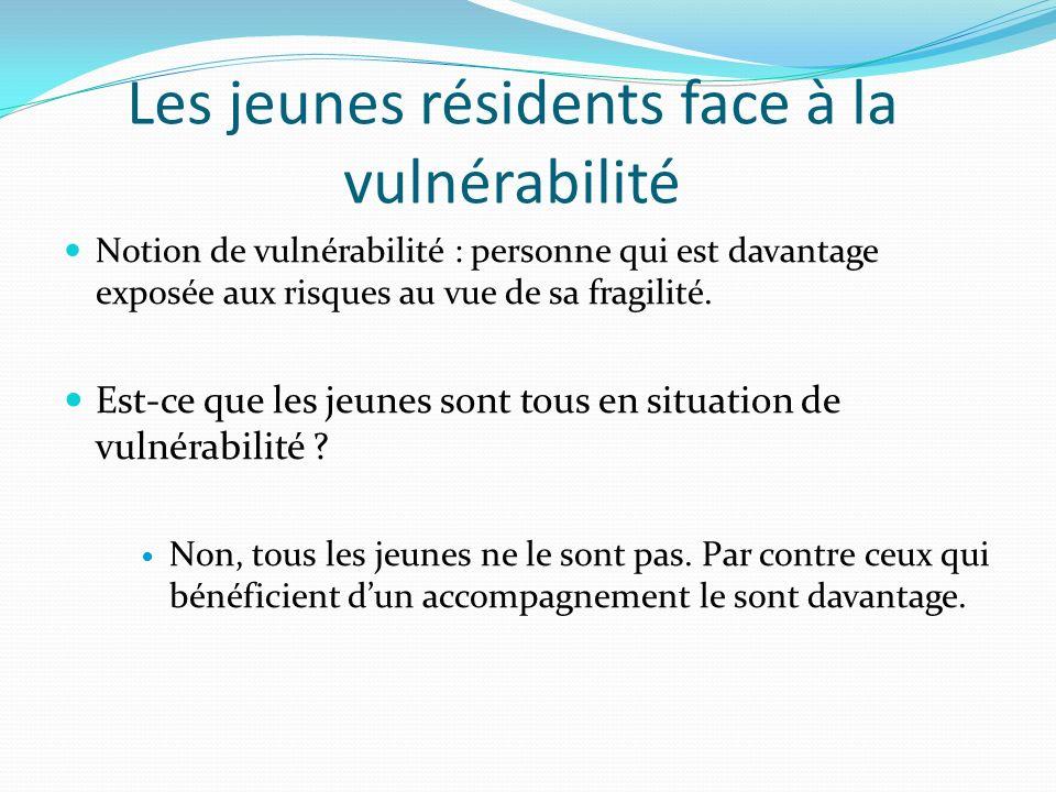 Les jeunes résidents face à la vulnérabilité Notion de vulnérabilité : personne qui est davantage exposée aux risques au vue de sa fragilité. Est-ce q