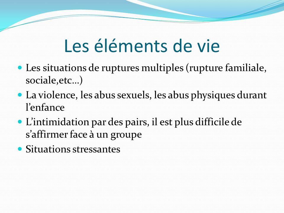 Les éléments de vie Les situations de ruptures multiples (rupture familiale, sociale,etc…) La violence, les abus sexuels, les abus physiques durant le