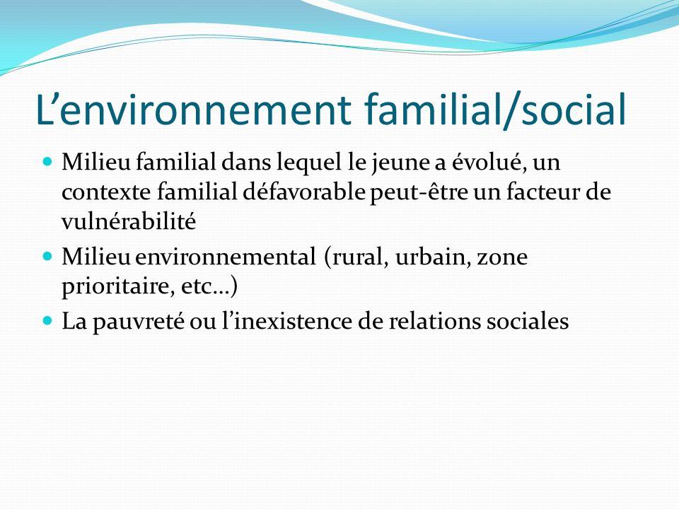 Lenvironnement familial/social Milieu familial dans lequel le jeune a évolué, un contexte familial défavorable peut-être un facteur de vulnérabilité M