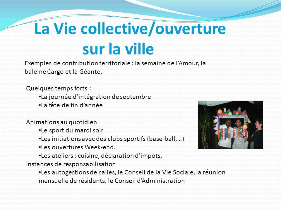 La Vie collective/ouverture sur la ville Exemples de contribution territoriale : la semaine de lAmour, la baleine Cargo et la Géante, Quelques temps f