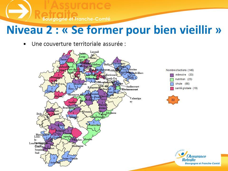 Niveau 2 : « Se former pour bien vieillir » Une couverture territoriale assurée : Amance Champagney Combeaufo ntaine Dampier re-sur- Salon Gray Heric
