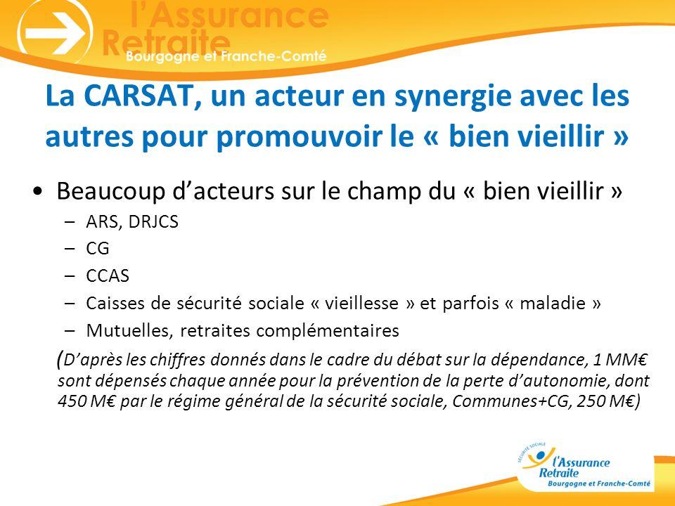 La CARSAT, un acteur en synergie avec les autres pour promouvoir le « bien vieillir » Beaucoup dacteurs sur le champ du « bien vieillir » –ARS, DRJCS