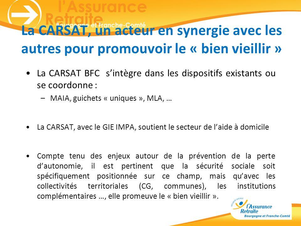 La CARSAT, un acteur en synergie avec les autres pour promouvoir le « bien vieillir » La CARSAT BFC sintègre dans les dispositifs existants ou se coor