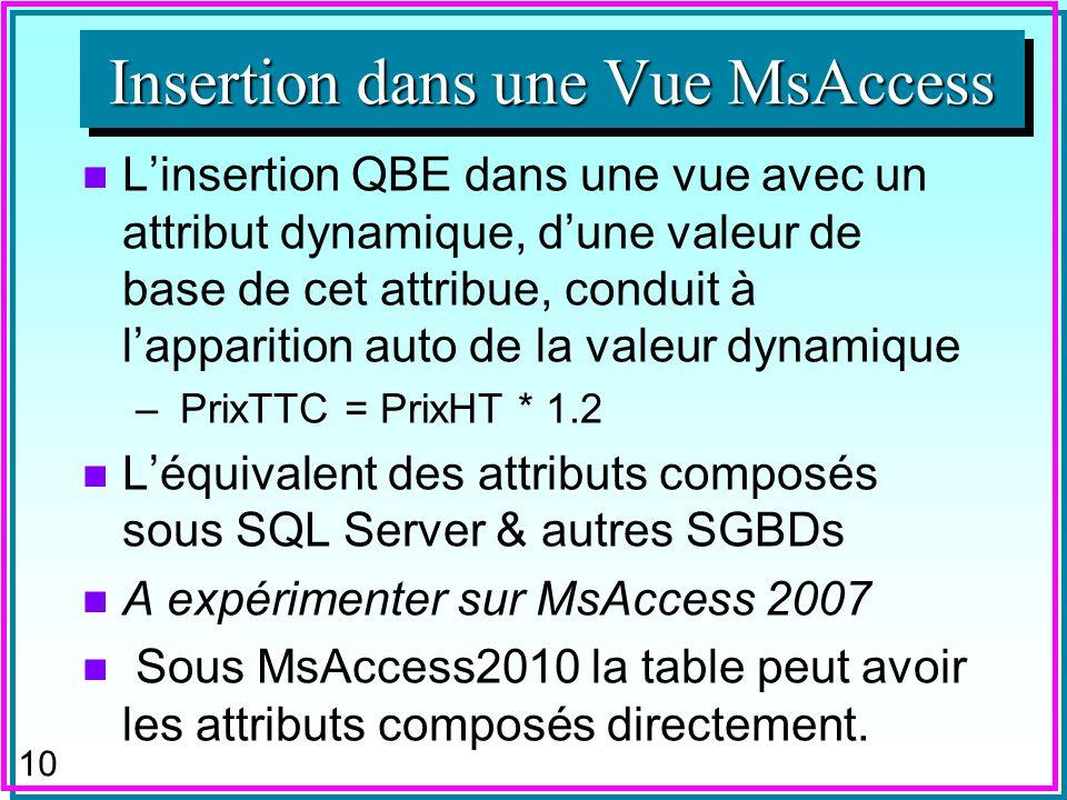 9 Insertion dans une Vue n Linsertion QBE dun déterminant dans une vue à jointure peut faire apparaître auto la valeur déterminée: –Insertion de Cpostal Ville dans : SELECT P.*, Ville FROM P, C WHERE P.Cpostal = C.Cpostal ; Avec : P (P#, Nom, CPostal) et C (Cpostal, Ville) n A expérimenter sur MsAccess Insertion dans une Vue MsAccess