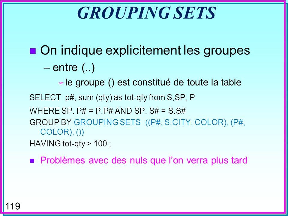 118 CUBE (DB2 & SQL-Server) n Groupements multiples selon toutes les dimensions –l ordre des attributs dans la clause n a pas d importance –les attributs sont progressivement « oublies » de droite à gauche n Remplace plusieurs requêtes GROUP BY SELECT p#, sum (qty) as tot-qty from S,SP, P WHERE SP.