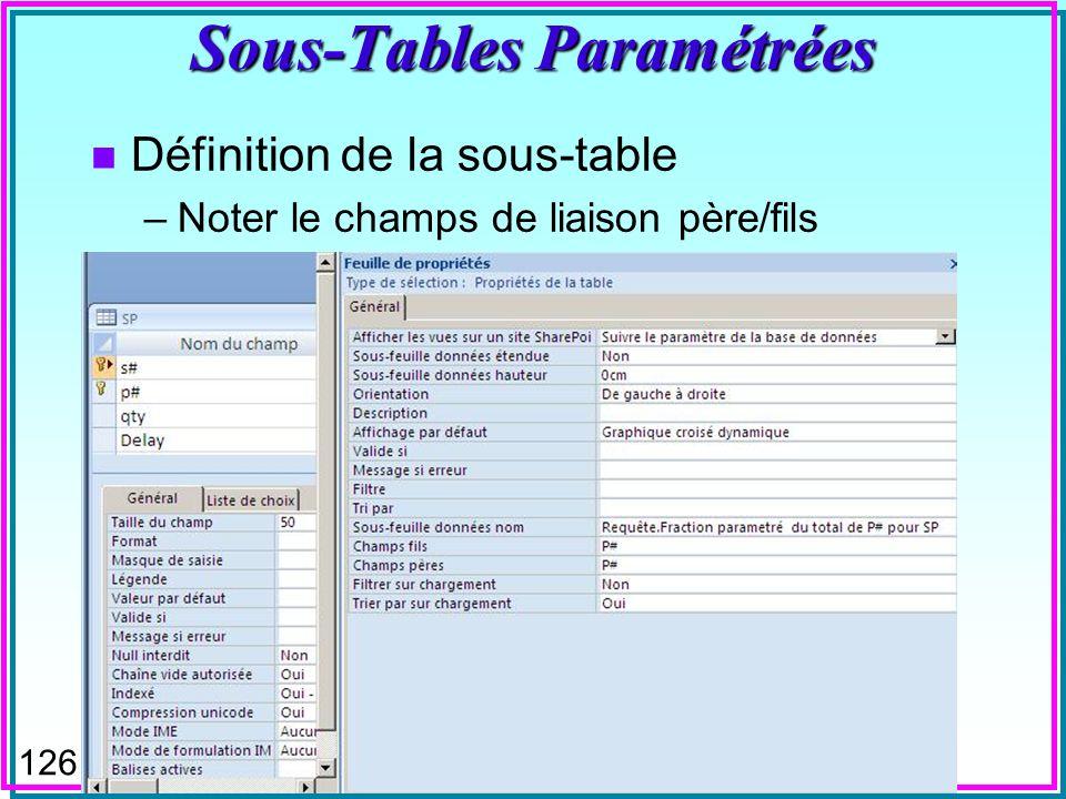 125 Sous-Tables Paramétrées n La requête de sous-table de MsAccess peut être paramétrée n On voit, par exemple pour SP, la fraction que représente la pièce examinée, soit P2, par rapport au total QTY, également visible, pour chaque fournisseur de la pièce n Seulement pour les fractions plus grandes quun minimum paramétré