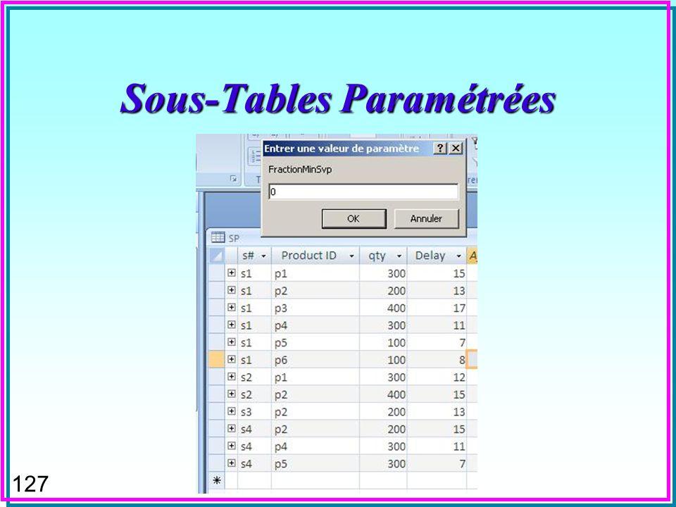 126 Sous-Tables Paramétrées n Définition de la sous-table –Noter le champs de liaison père/fils