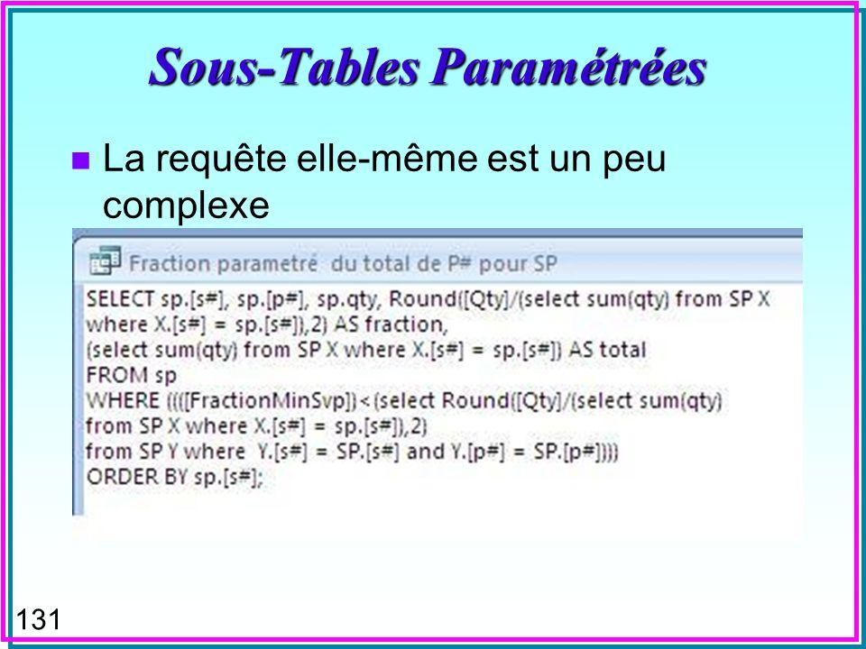 130 Sous-Tables Paramétrées