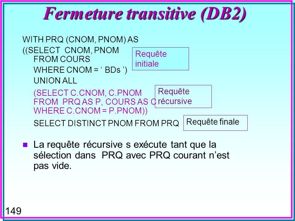 148 Fermeture transitive n Considère la table COURS (CNOM, PNOM, NMIN) contenant les cours et leur pré-requis avec les notes minimales pour l admission en cours –ex.