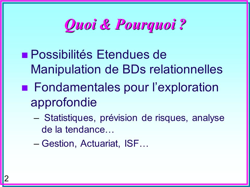 92 Distribution Cumulative n La probabilité cumulative quune pièce soit fournie par un fournisseur –Arrondie à 3 chiffres décimaux SELECT DISTINCT SP.[s#], round((select sum(qty) from SP X where X.[s#] <= SP.[s#])/(select sum(qty) from SP as Y), 3) AS [Distribution Cumulée] FROM SP ORDER BY SP.[s#];