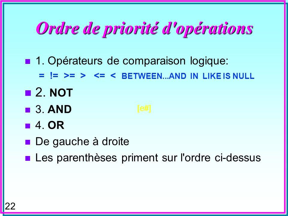 21 ORDER BY et expressions de valeur n ORDER BY clause peut aussi référencer un attribut et une expression qui n est pas dans SELECT clause: Select S#, CITY FROM S ORDER BY SNAME STATUS+50 ; exceptions: UNION, MINUS, INTERSECT DB2 SQL n avait pas ces possibilités Aux dernières nouvelles ORDER BY et DISTINCT peuvent être en conflit Essayez: SELECT distinct sp.[s#] FROM sp ORDER BY sp.qty;