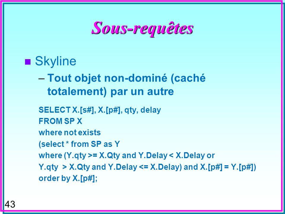 42Sous-requêtes n Skyline –Tout objet non-dominé (caché totalement) par un autre n Dit aussi frontière de Pareto