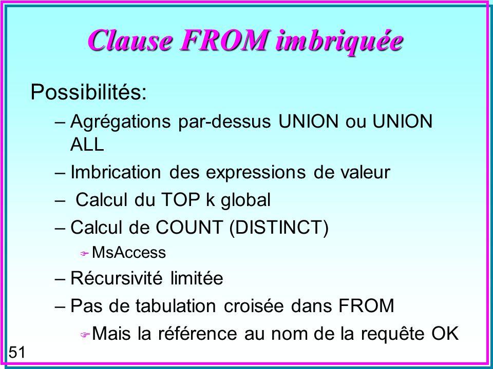 50 Clause FROM imbriquée n Définit une table dans la clause FROM dune expression de sélection SQL (SQL-Select) –Cette dernière peut-être imbriquée à son tour Select attrs…FROM [tbls], (SQL-Select) Where ….