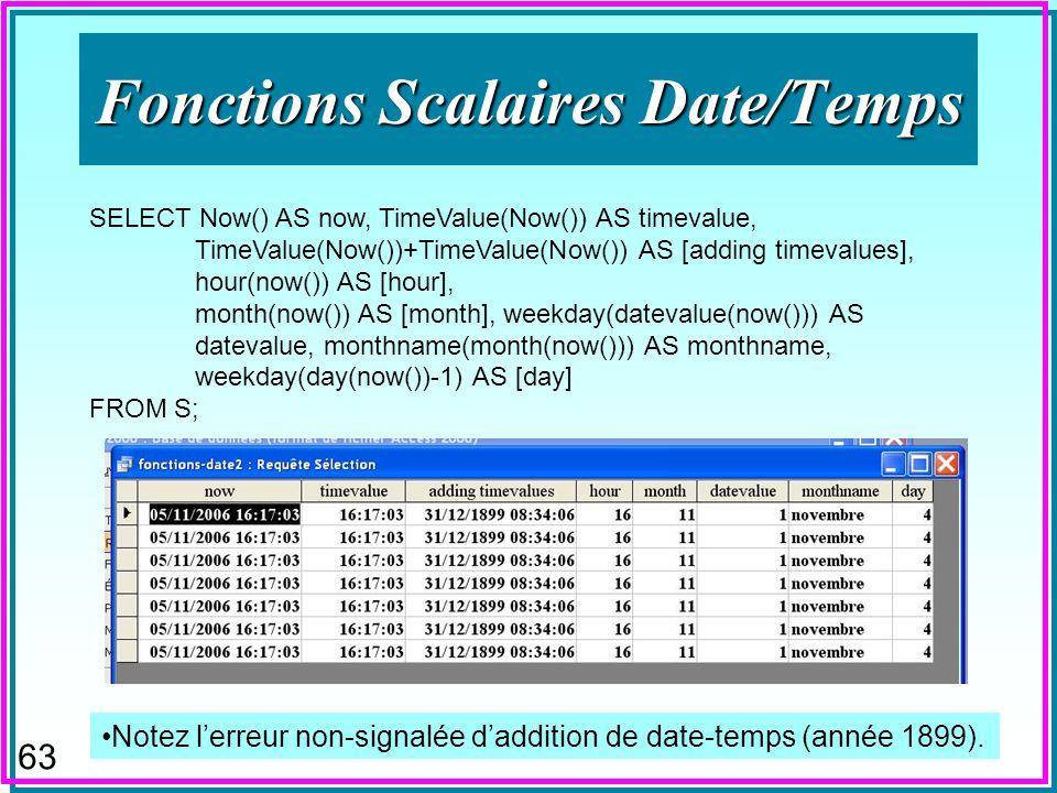 62 Fonctions Scalaires Date/Temps SELECT Now() AS now, Weekday(#30/10/06#) AS [weekday of 30/10/06], Weekday(#30/10/06#+15) AS [weekday + 15], weekdayname(2) AS [weekdaynameerror for 30/10/06], WeekdayName(weekday(datevalue(now())-1)) AS [weekdaynamecorrig for now ()] FROM S; n Une erreur de calcul du nom du jour de la semaine existe en version française de MsAccess 2003+ –La semaine US de weekday commence le dimanche, celle française de weekdayname : le lundi –Donc « 2 » ci-dessus doit donner lieu au lundi (la réalité pour 30/10/06)