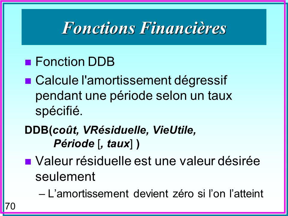 69 Fonctions Financières n Fonction DDB n Calcule l amortissement dégressif pendant une période selon un taux spécifié.