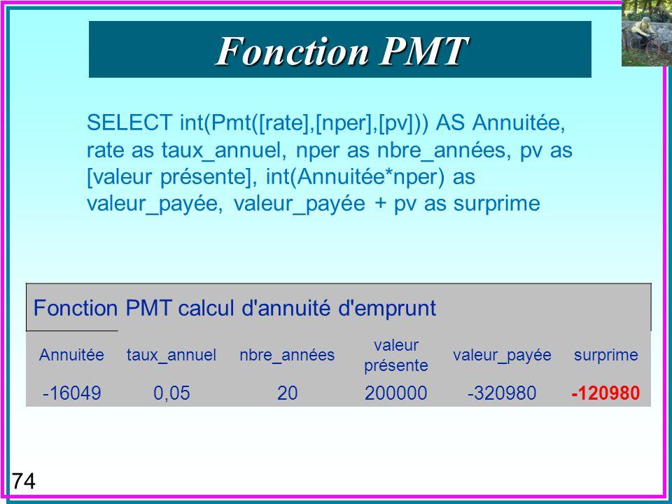 73 n Fonction PMT = « Payment » de SQL n Fonction « Valeur de Payement « VPM en QBE français –Donc dans le Générateur dExpressions n Calcule les annuités dun emprunt à durée et taux données.