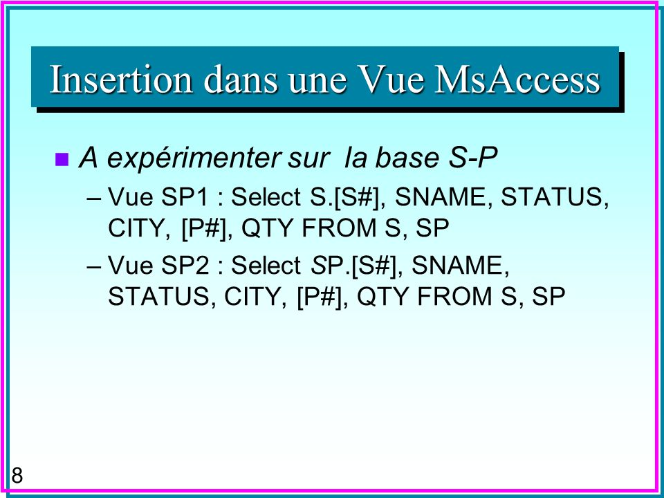 38 IMP SELECT S.[S#], S.Status, S.City FROM S WHERE Status=10 imp city= paris ; A noter le traitement du nul dans City