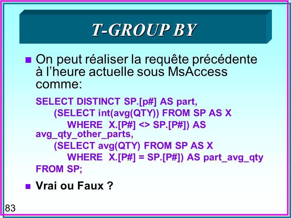 82 T-GROUP BY n Proposé pour SQL n Permettrait de faire les groupes par rapport à = n Le rôle de -join par rapport à equi-join n Ainsi la requête hypothétique: SELECT P#, AVG(QTY) AS QTY1 INT(AVG(QTY)) AS QTY2 FROM SP T-GROUP (QT1 BY P#, QT2 BY <> P#) donnerait la quantité moyenne de toute pièce autre que la pièce P# avec la quantité moyenne de la pièce P#, pour la comparaison éloquente