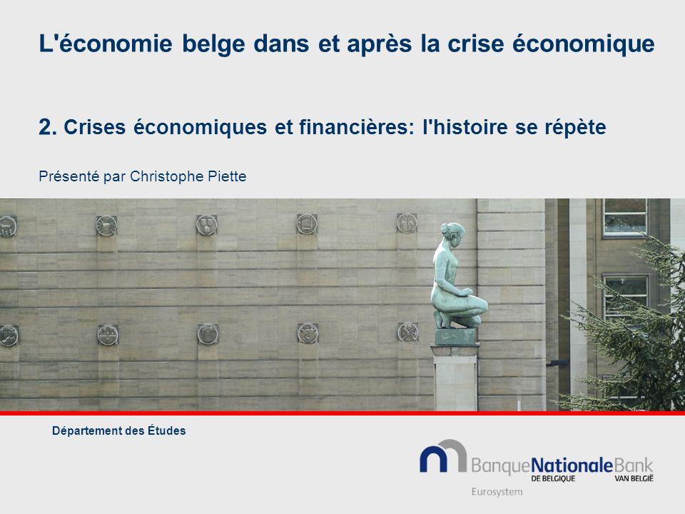 L'économie belge dans et après la crise économique 2. Crises économiques et financières: l'histoire se répète Présenté par Christophe Piette Départeme