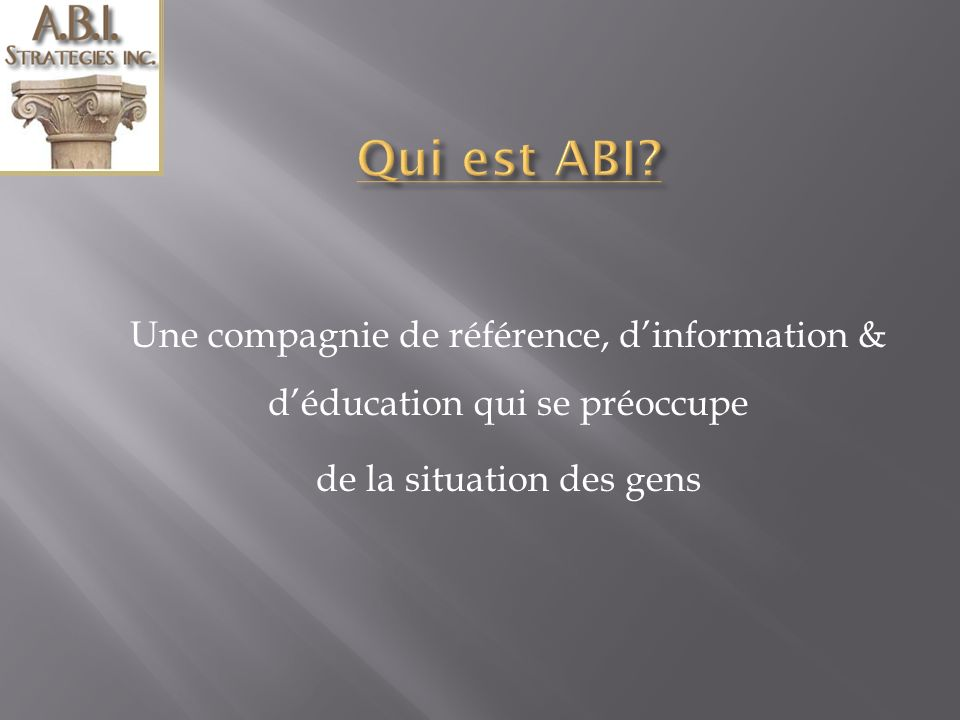 Première partie Qui est ABI.