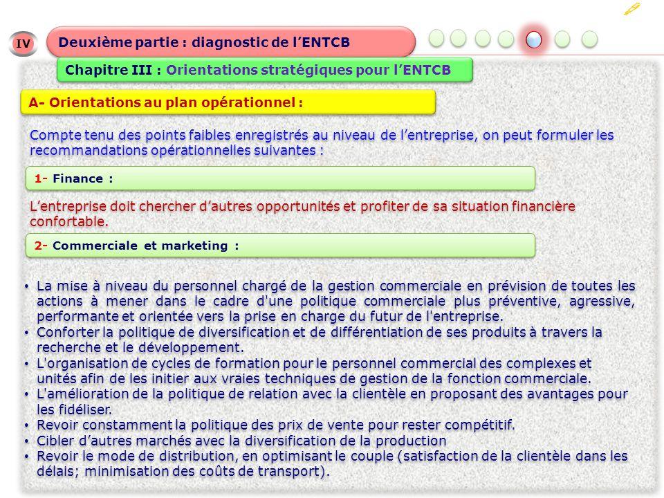 IV Deuxième partie : diagnostic de lENTCB Chapitre III : Orientations stratégiques pour lENTCB A- Orientations au plan opérationnel : Compte tenu des