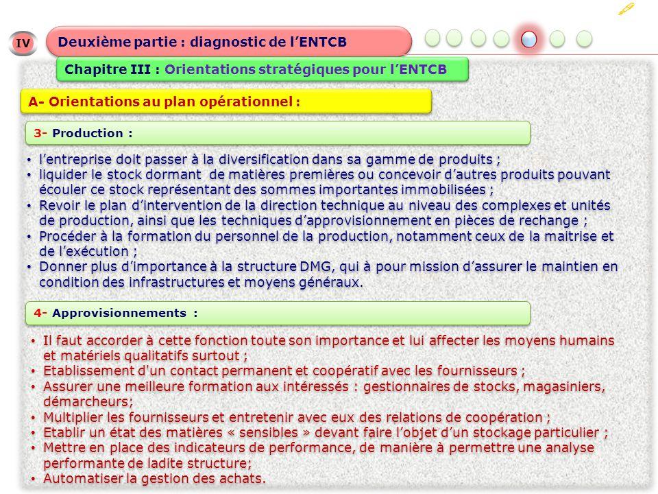 IV Deuxième partie : diagnostic de lENTCB Chapitre III : Orientations stratégiques pour lENTCB A- Orientations au plan opérationnel : lentreprise doit