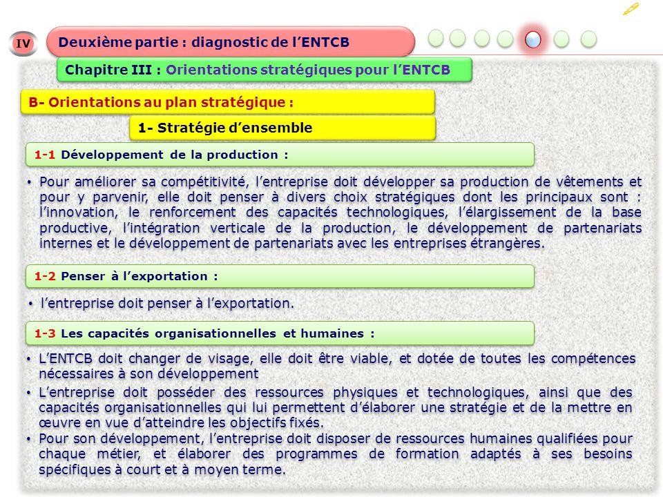 IV Deuxième partie : diagnostic de lENTCB Chapitre III : Orientations stratégiques pour lENTCB B- Orientations au plan stratégique : Pour améliorer sa