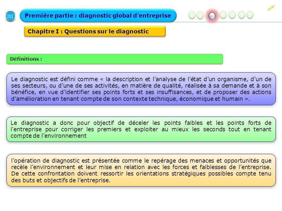 III Première partie : diagnostic global dentreprise Chapitre I : Questions sur le diagnostic Le diagnostic est défini comme « la description et lanaly