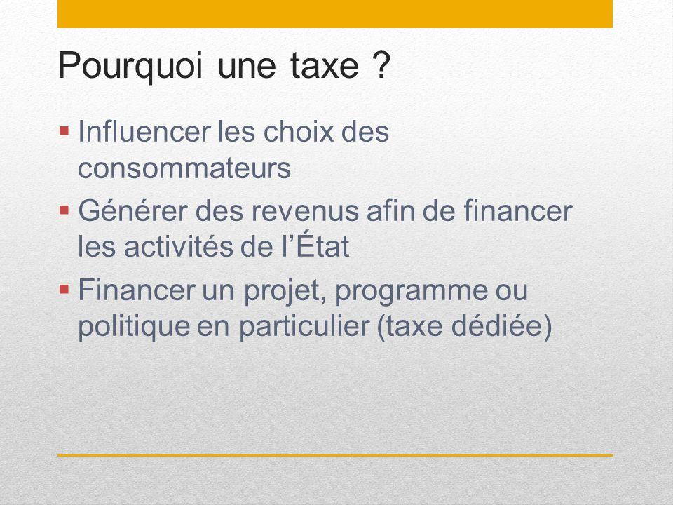 Pourquoi une taxe ? Influencer les choix des consommateurs Générer des revenus afin de financer les activités de lÉtat Financer un projet, programme o