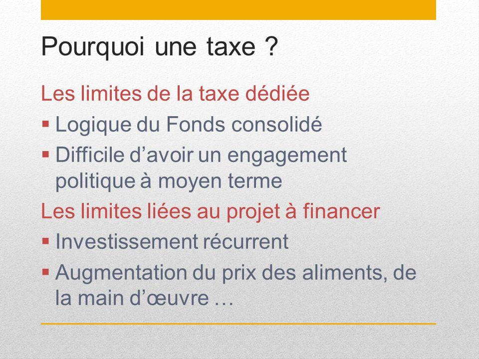 Pourquoi une taxe ? Les limites de la taxe dédiée Logique du Fonds consolidé Difficile davoir un engagement politique à moyen terme Les limites liées
