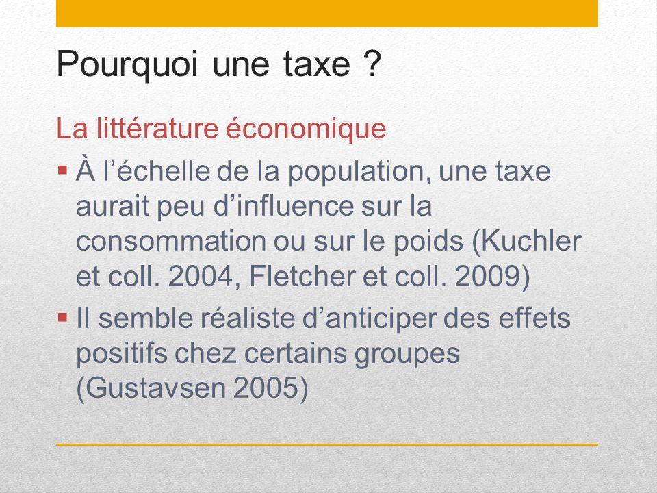 Pourquoi une taxe ? La littérature économique À léchelle de la population, une taxe aurait peu dinfluence sur la consommation ou sur le poids (Kuchler