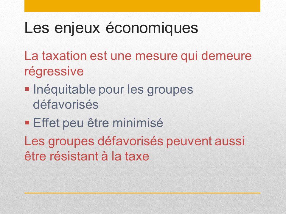 Les enjeux économiques La taxation est une mesure qui demeure régressive Inéquitable pour les groupes défavorisés Effet peu être minimisé Les groupes