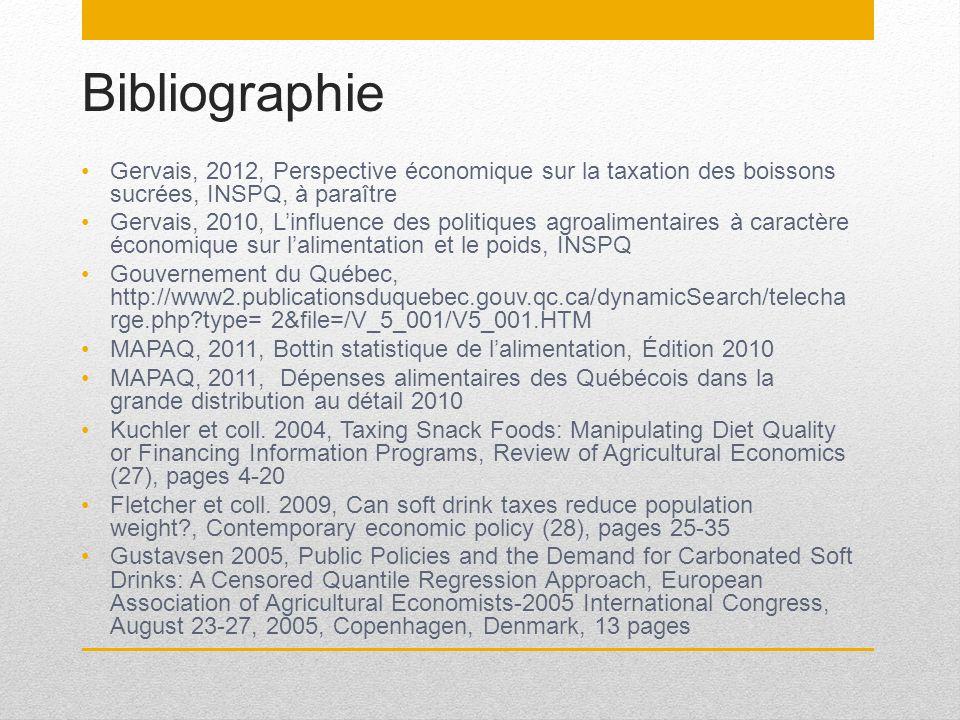 Bibliographie Gervais, 2012, Perspective économique sur la taxation des boissons sucrées, INSPQ, à paraître Gervais, 2010, Linfluence des politiques a