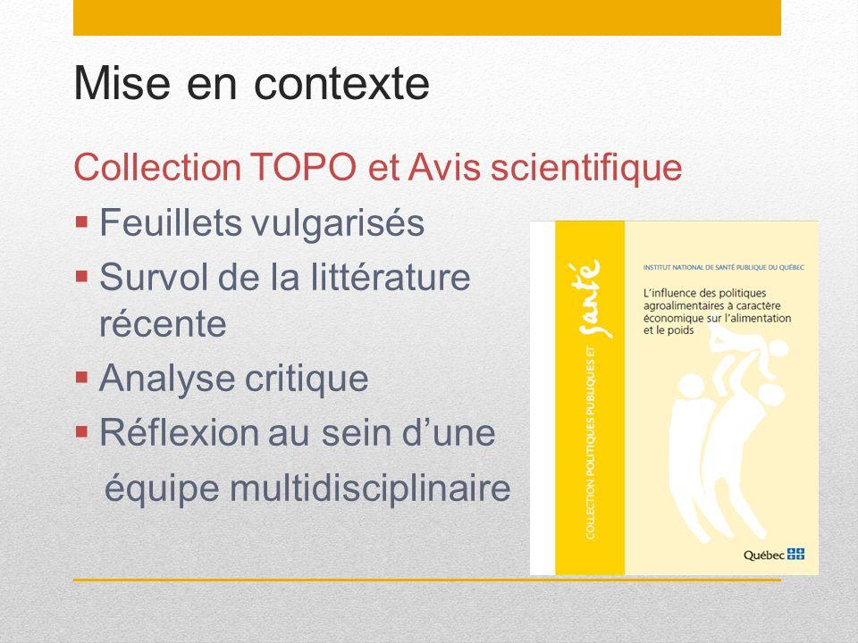 Mise en contexte Collection TOPO et Avis scientifique Feuillets vulgarisés Survol de la littérature récente Analyse critique Réflexion au sein dune éq