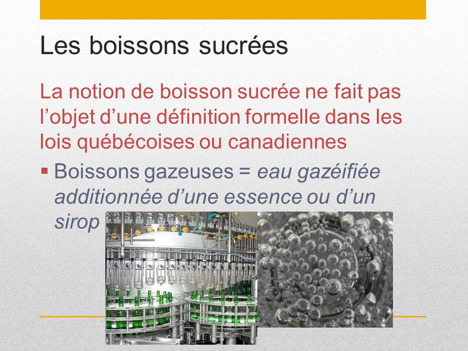 Les boissons sucrées La notion de boisson sucrée ne fait pas lobjet dune définition formelle dans les lois québécoises ou canadiennes Boissons gazeuse