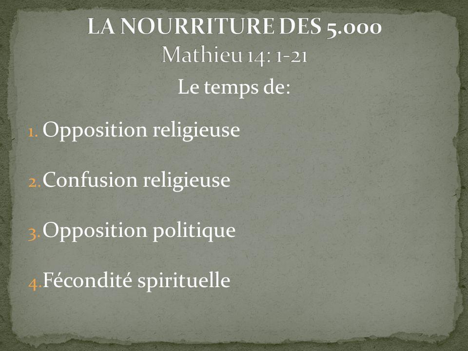 Le temps de: 1. Opposition religieuse 2. Confusion religieuse 3.