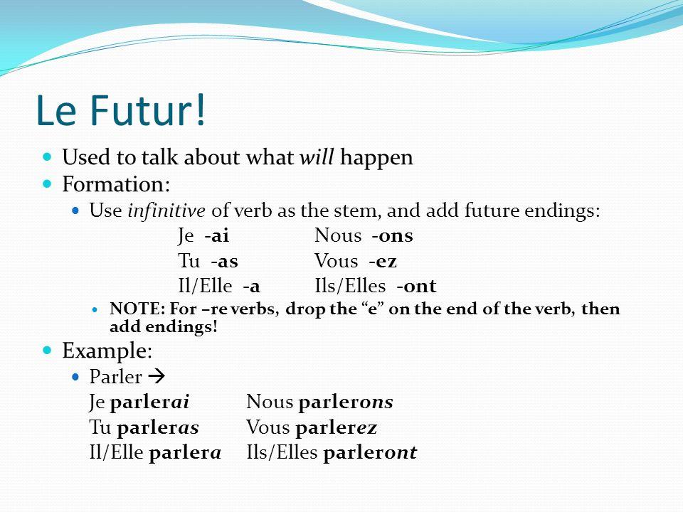 Les Irréguliers du Futur Some verbs have irregular stems in the future: Aller ir- Avoir aur-Devoir devr- Etre ser- Faire fer-Pouvoir pourr- Venir viendr- Voir verr-Vouloir voudr- Use the irregular stem and add the endings to form the future.