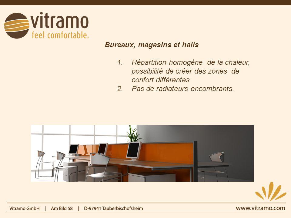 Bureaux, magasins et halls 1.Répartition homogène de la chaleur, possibilité de créer des zones de confort différentes 2.Pas de radiateurs encombrants