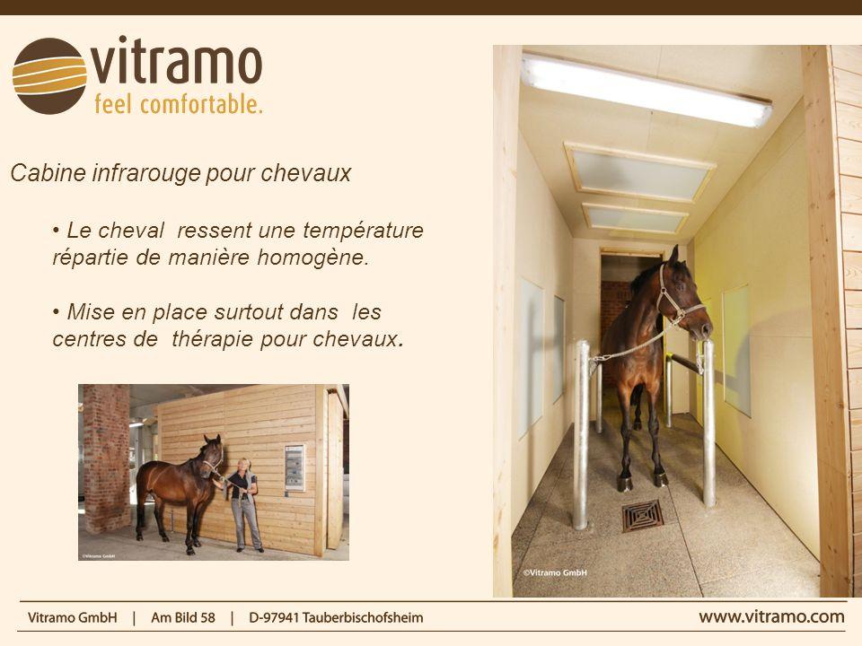 Cabine infrarouge pour chevaux Le cheval ressent une température répartie de manière homogène. Mise en place surtout dans les centres de thérapie pour