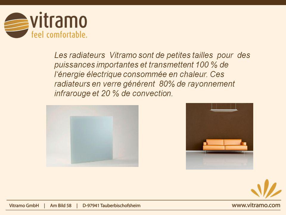 Les radiateurs Vitramo sont de petites tailles pour des puissances importantes et transmettent 100 % de lénergie électrique consommée en chaleur. Ces