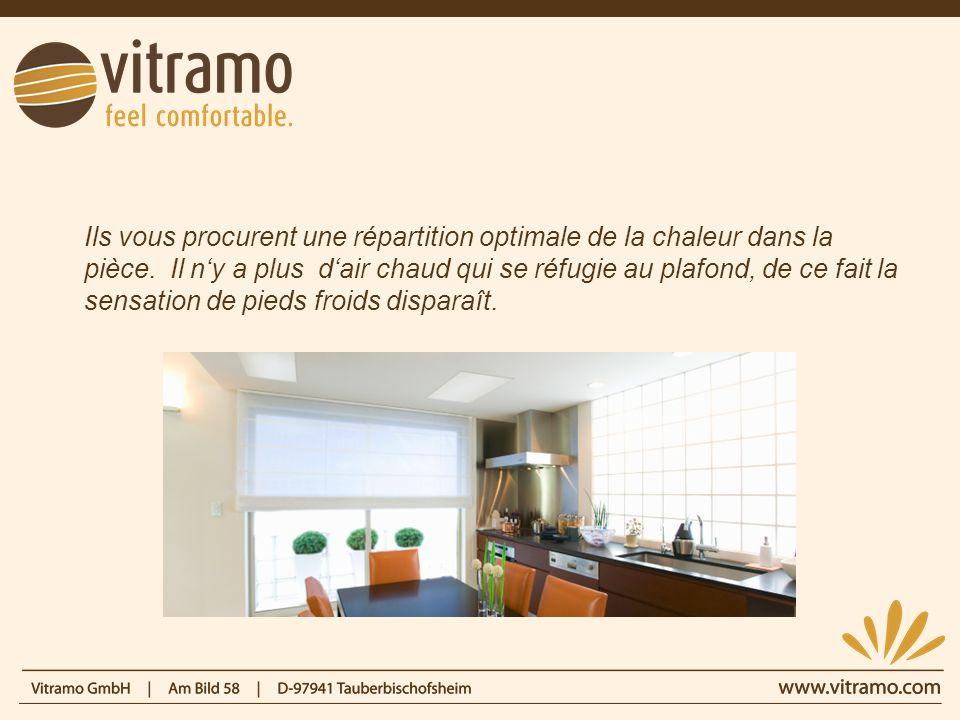 Pour obtenir le meilleur rendement, Vitramo vous recommande de privilégier linstallation de ces radiateurs au plafond, à la manière du soleil.