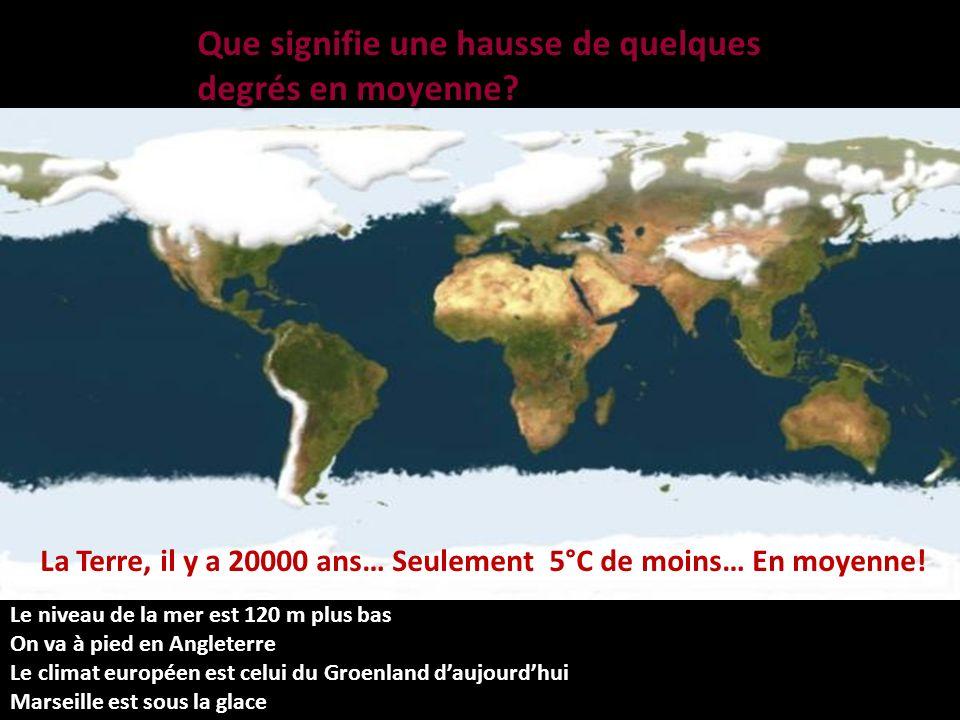 JanvierMarsAvrilMaiJuilletAout La Terre, il y a 20000 ans… Seulement 5°C de moins… En moyenne.