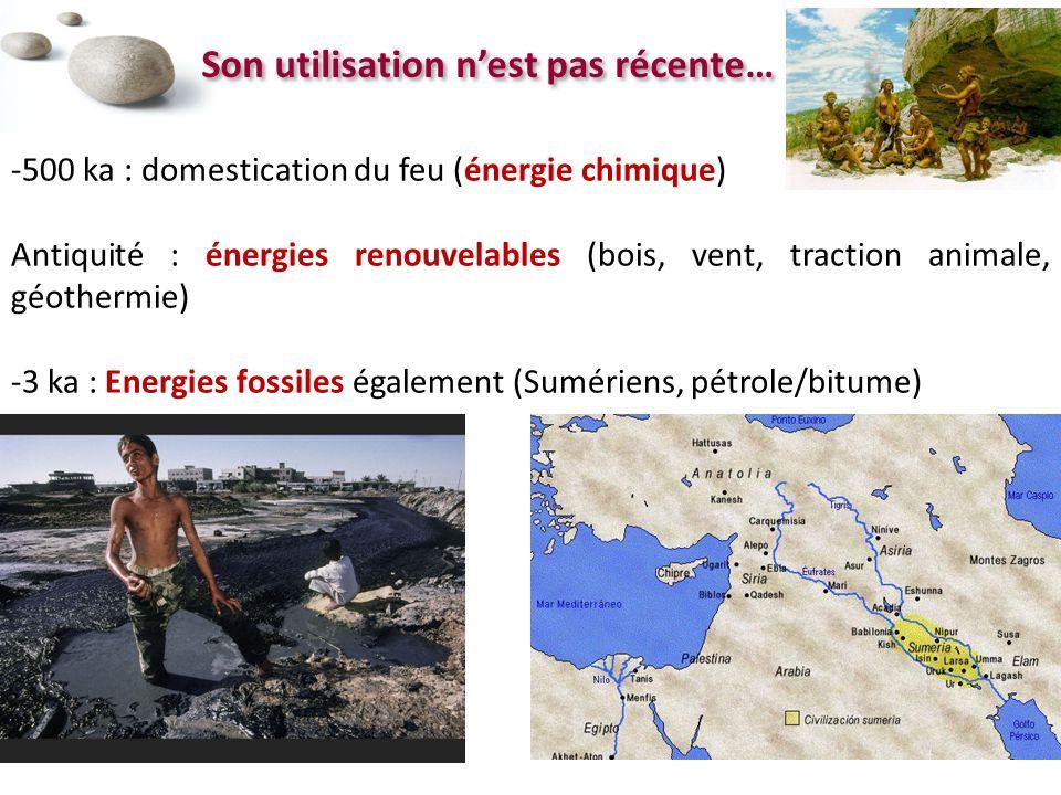 Son utilisation nest pas récente… -500 ka : domestication du feu (énergie chimique) Antiquité : énergies renouvelables (bois, vent, traction animale, géothermie) -3 ka : Energies fossiles également (Sumériens, pétrole/bitume)