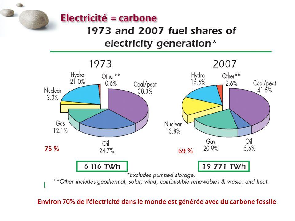 Electricité = carbone Environ 70% de lélectricité dans le monde est générée avec du carbone fossile 75 % 69 %
