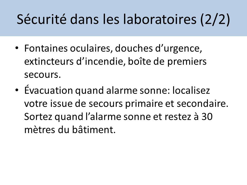 Sécurité dans les laboratoires (2/2) Fontaines oculaires, douches durgence, extincteurs dincendie, boîte de premiers secours. Évacuation quand alarme