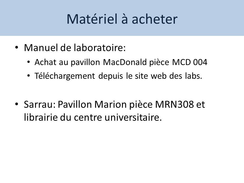 Matériel à acheter Manuel de laboratoire: Achat au pavillon MacDonald pièce MCD 004 Téléchargement depuis le site web des labs. Sarrau: Pavillon Mario