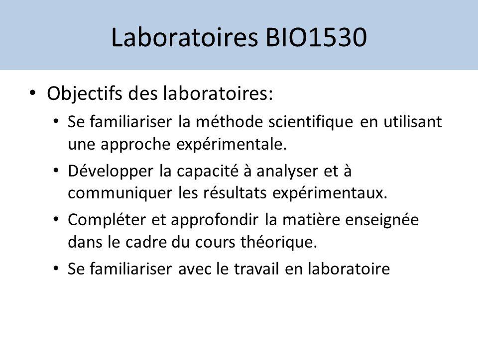 Laboratoires BIO1530 Objectifs des laboratoires: Se familiariser la méthode scientifique en utilisant une approche expérimentale. Développer la capaci